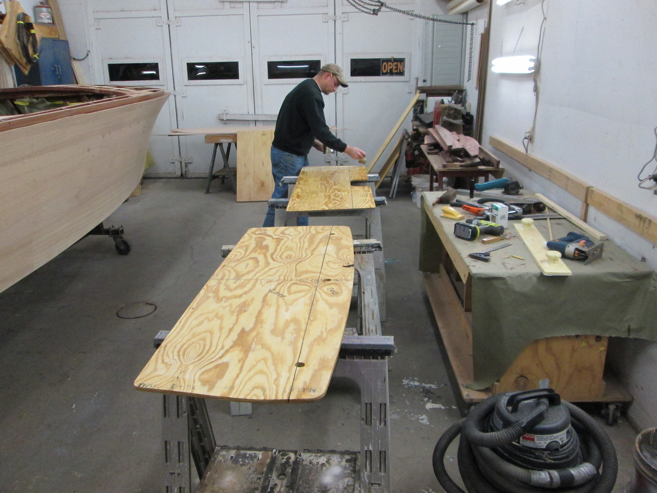 New seat bottoms being epoxied.