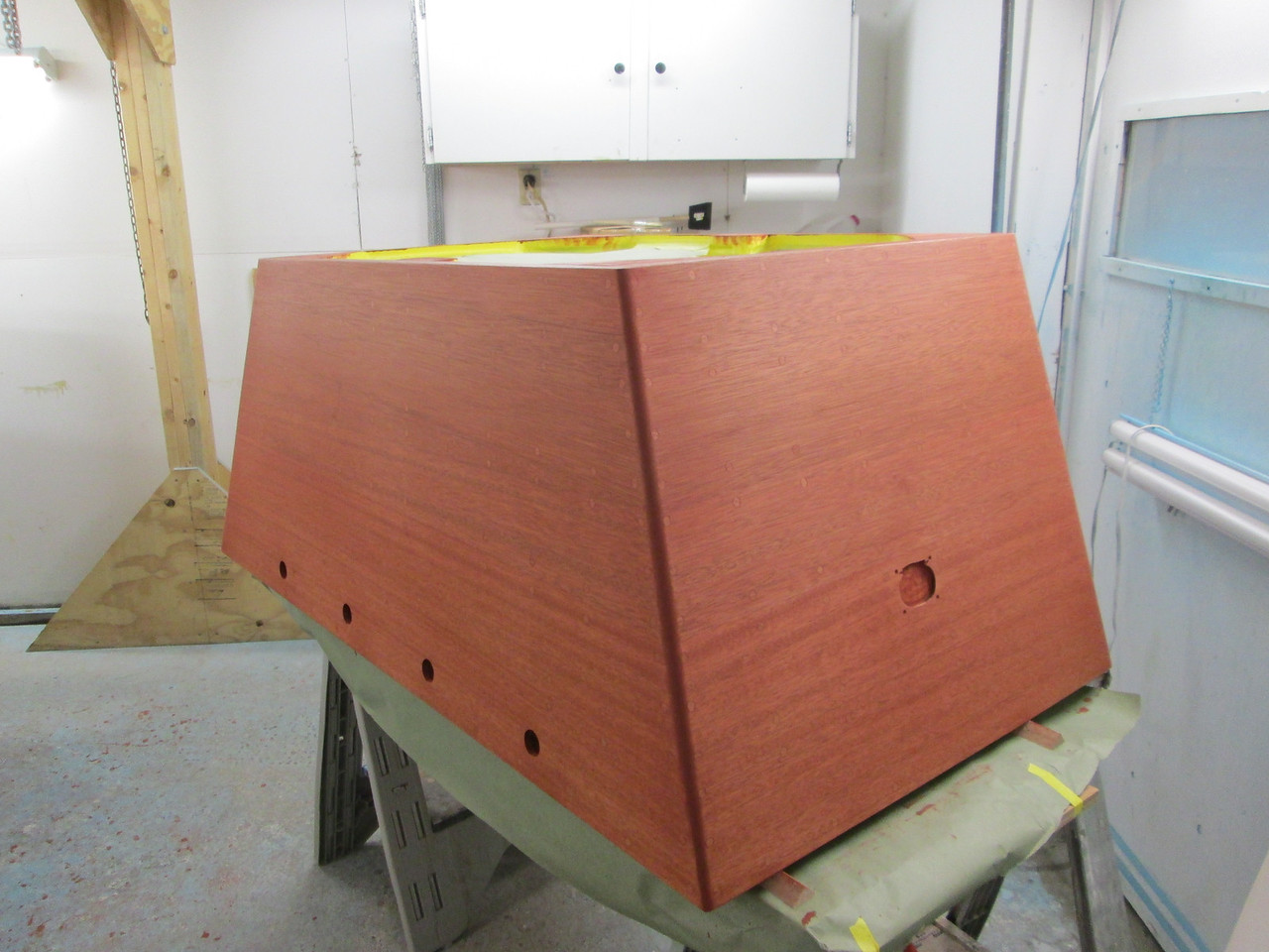 Engine box with stain applied.