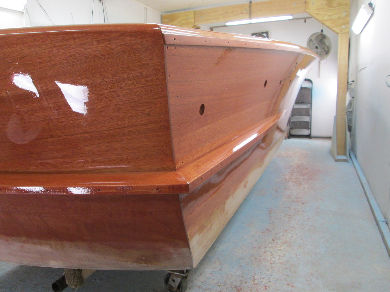Rear port view of the first coat of varnish over sealer.
