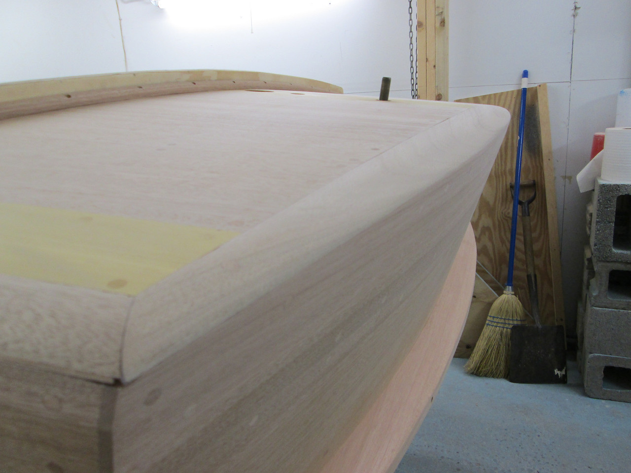 Port view of transom cover board.