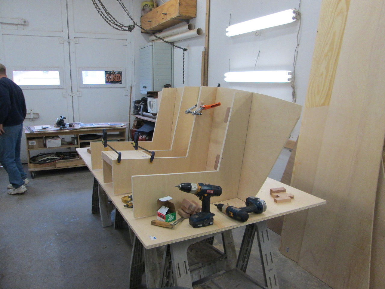 Custom front seat frame being built.