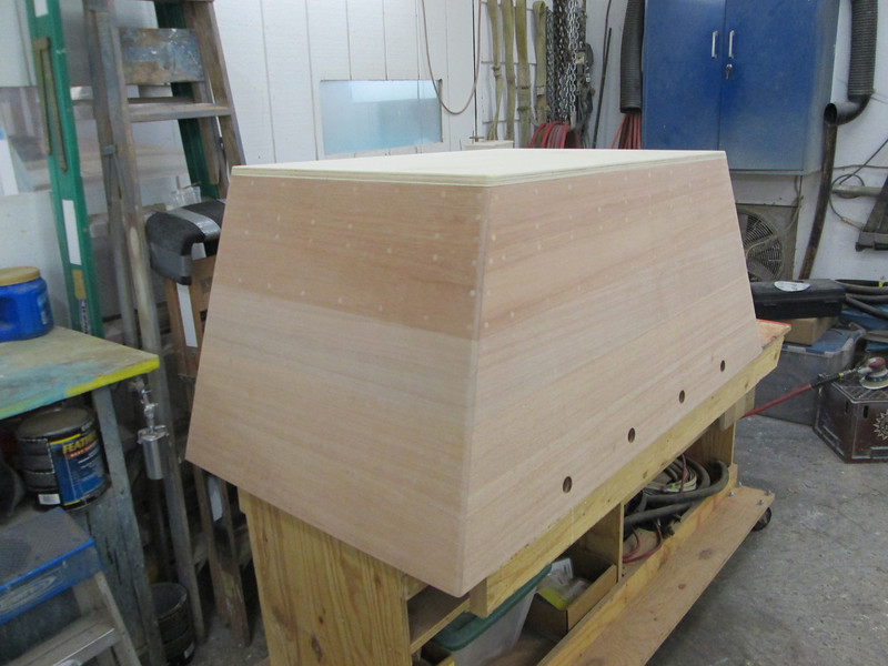 Front port view of plugged and sanded engine box.