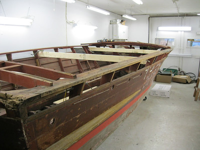 Starboard side view of top plank removed.