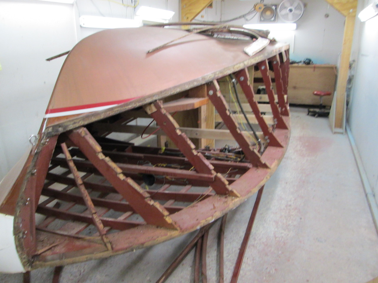 Front starboard view of the old side battens removed.