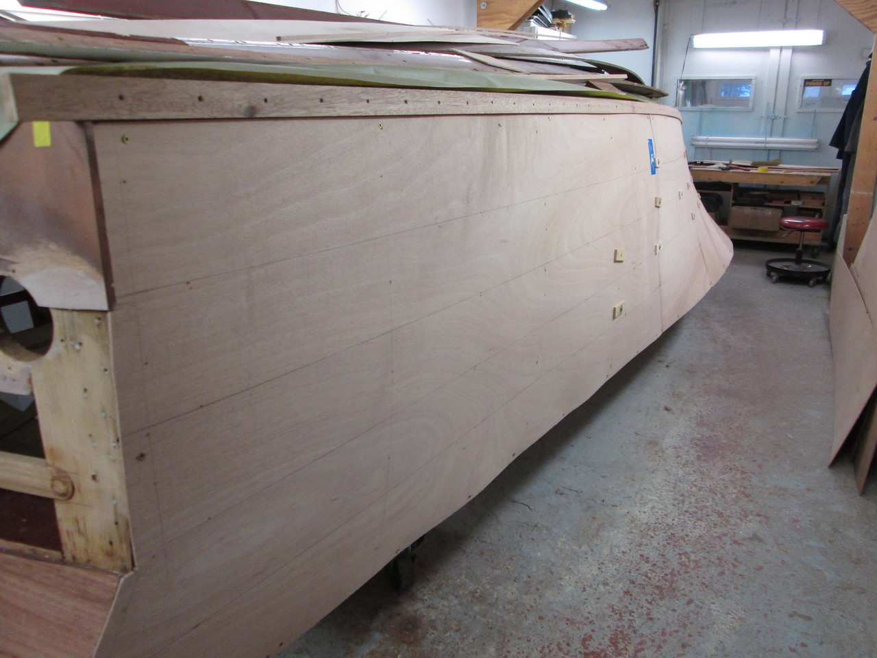 Rear view of he plywood skin fit on the port side.