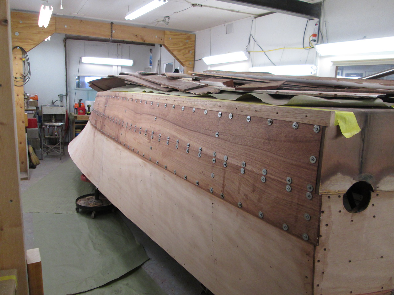 Rear view of the new planks installed on the starboard side.