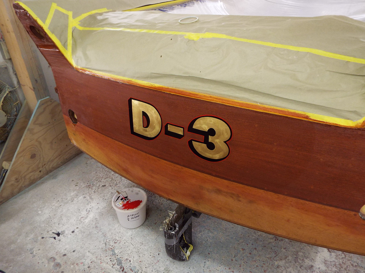 Transom lettering complete.