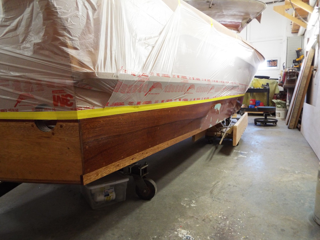 Rear starboard view with the first coat of epoxy applied.