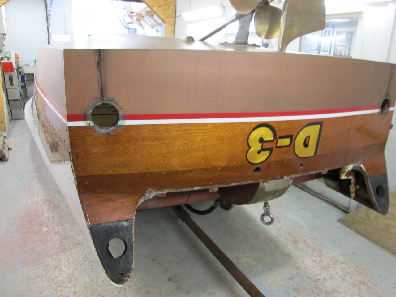 Transom view of the hull upside down.