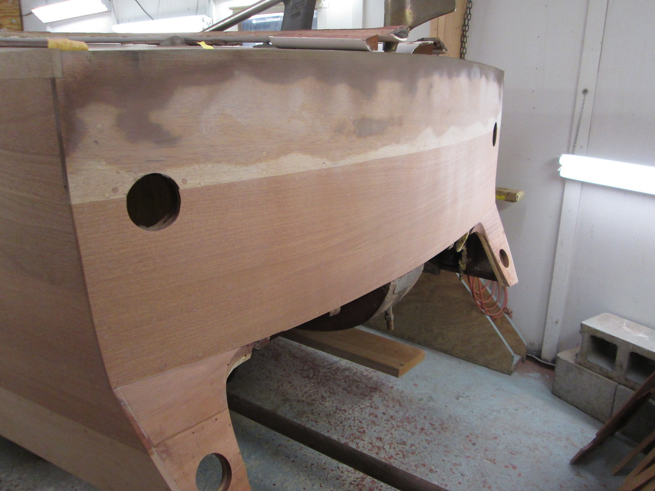 Transom with the plugs trimmed and sanded.