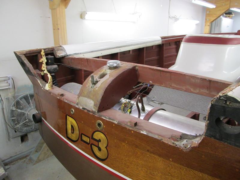 Fiberglass rear deck removed.