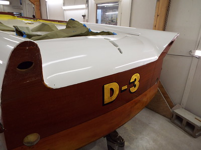 Transom finish completed.