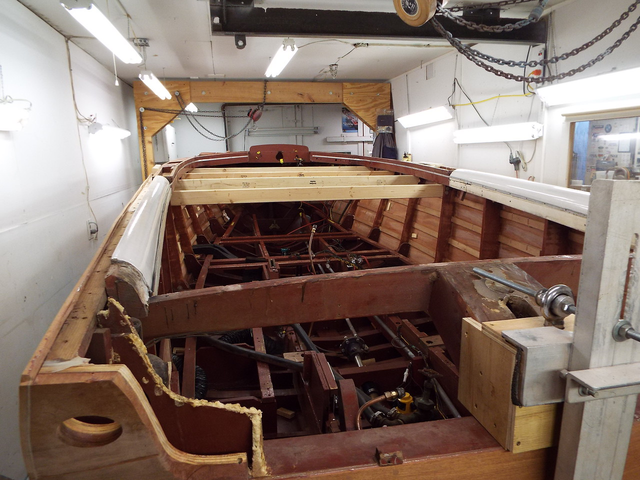 Rear port view of the hull turned right side up.