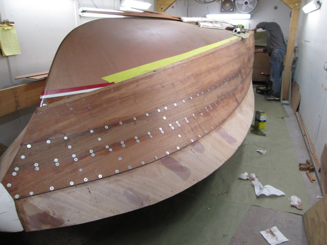 Starboard front view of the second two planks installed.