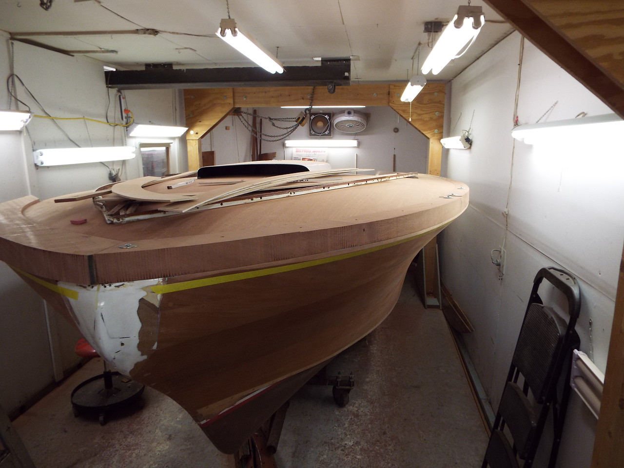 Another view of the port cover boards and the first piece of the starboard cover board fit.