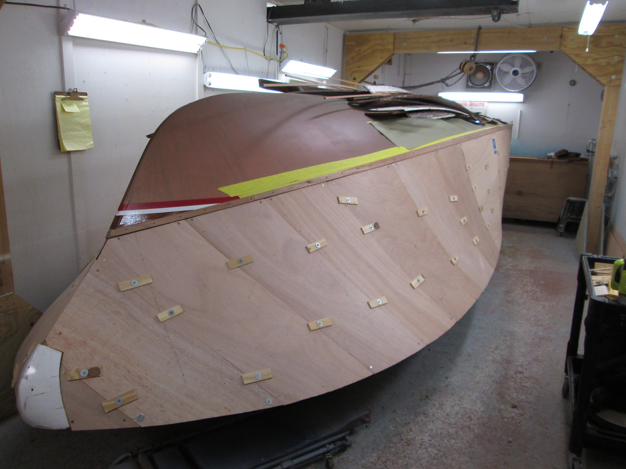 Front starboard view with the plywood skin fit.
