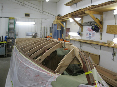 Front port view of new frames and keel installed. Ready for plywood skin.