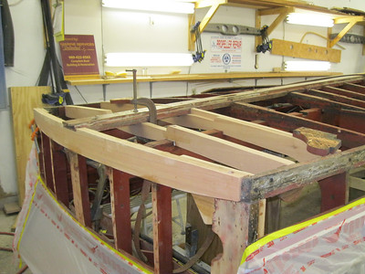 New transom bottom frame and next two frames installed.