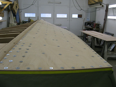 Rear view of port side plywood installed.