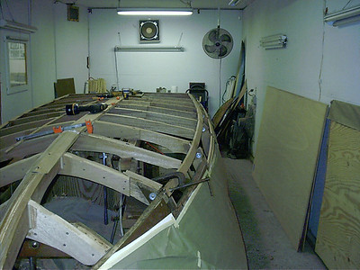 New starboard chines being installed.