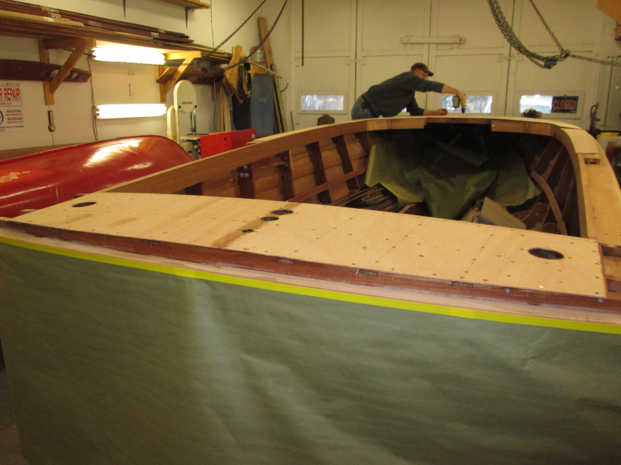 Rear deck skin glued and screwed in place.