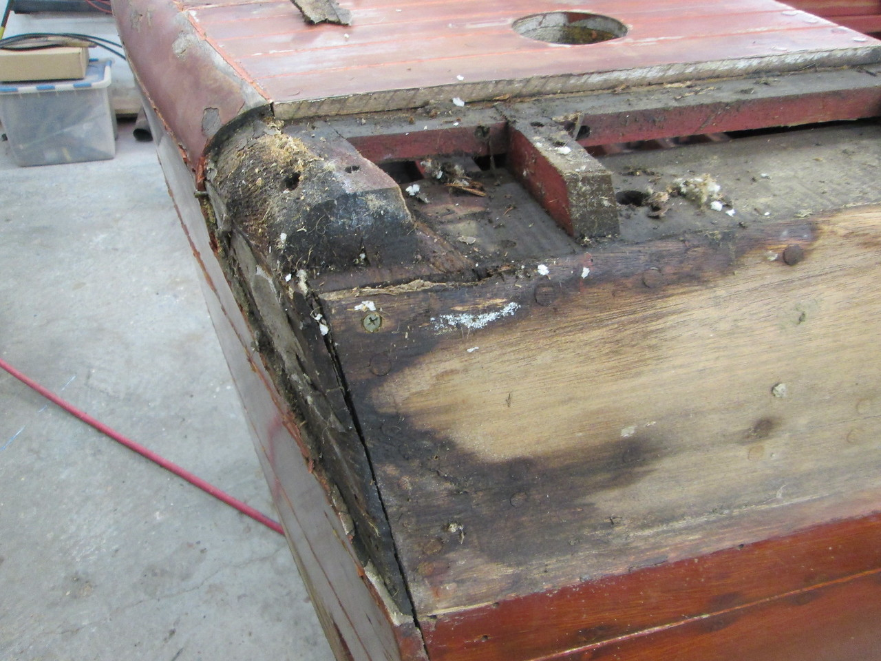 Another view of the bad wood on the starboard rear corner.