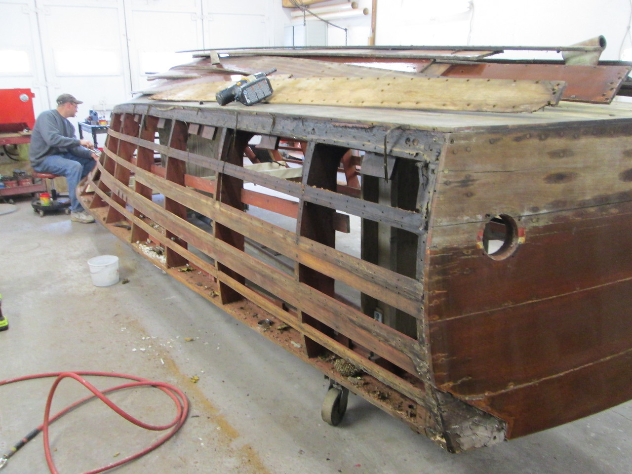 Rear starboard view of the side planks removed.