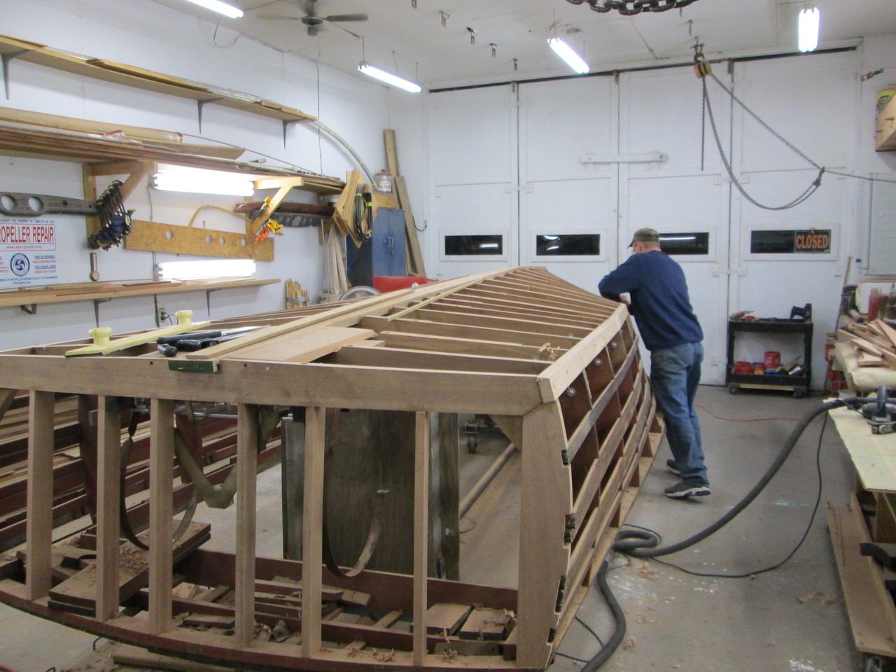 Another view of the new keel, frames and chine  port side installed with the chine being faired.