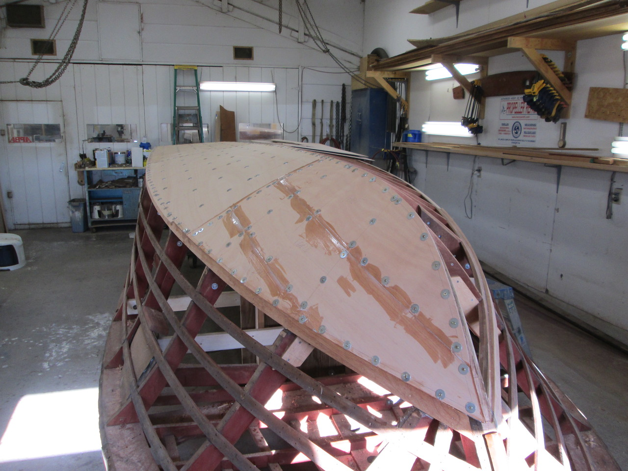 Front port view of the first layer of bottom skin applied.