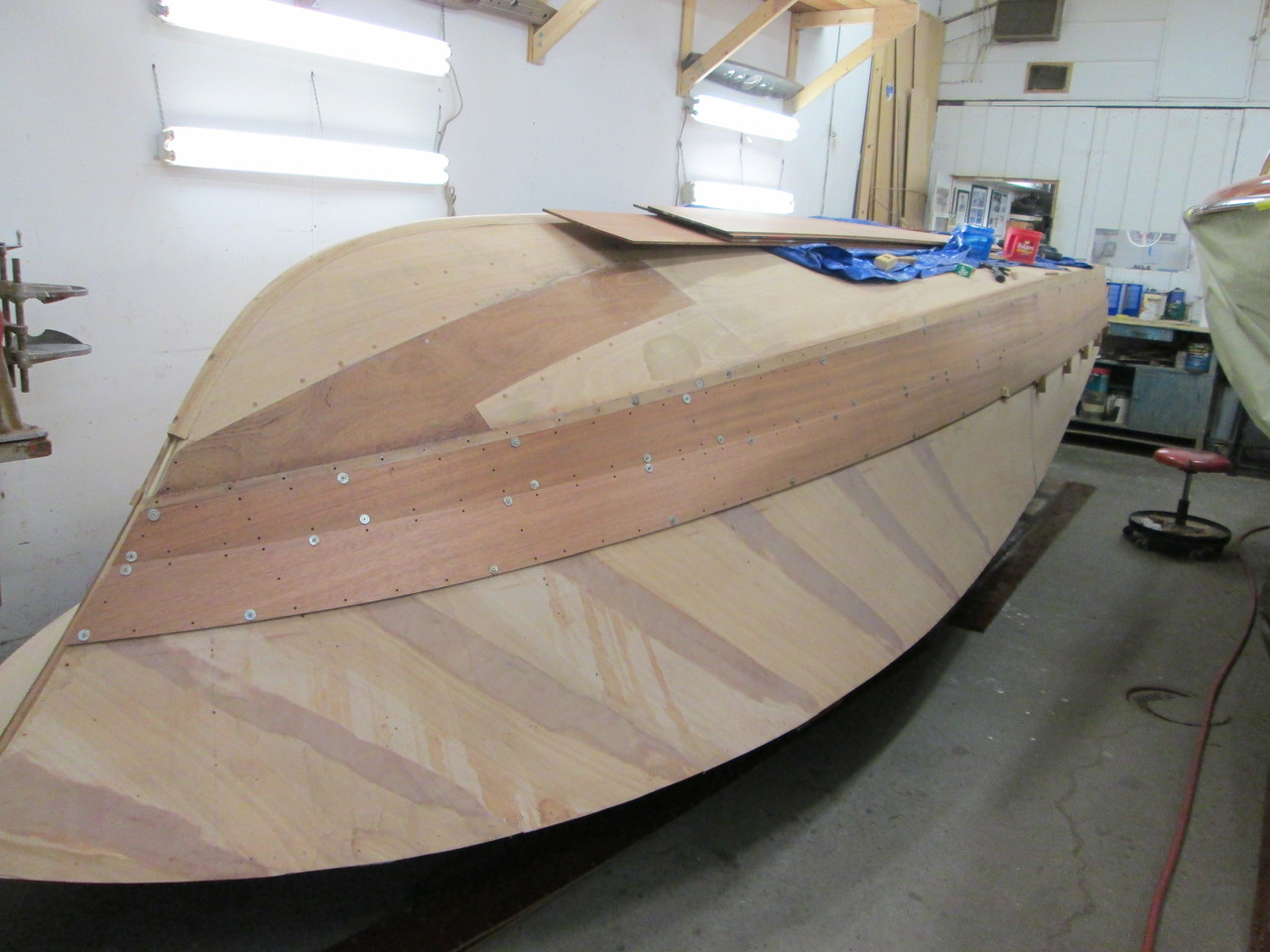 Front starboard view of the first two planks fit.