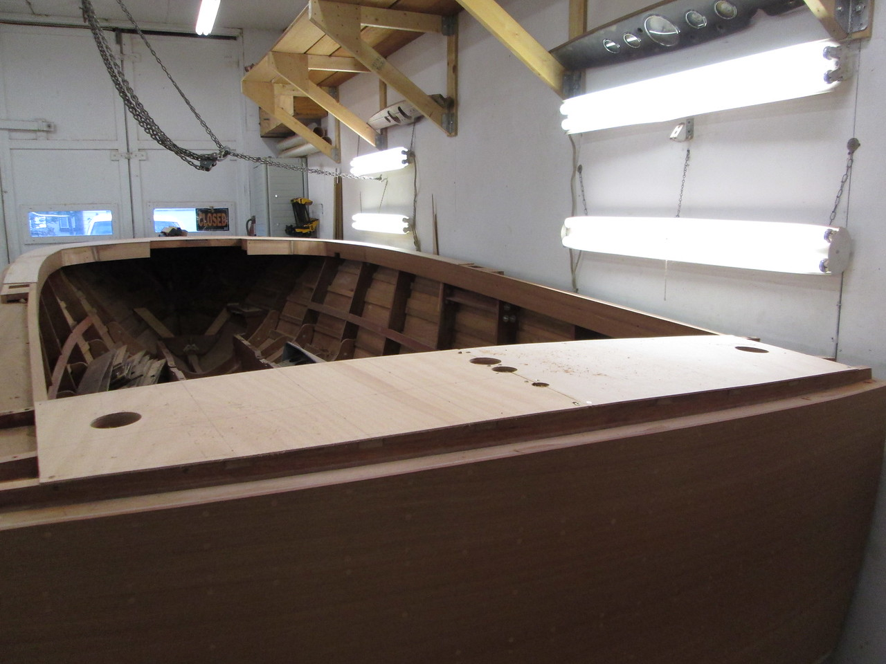 Rear deck with plywood skin fit.
