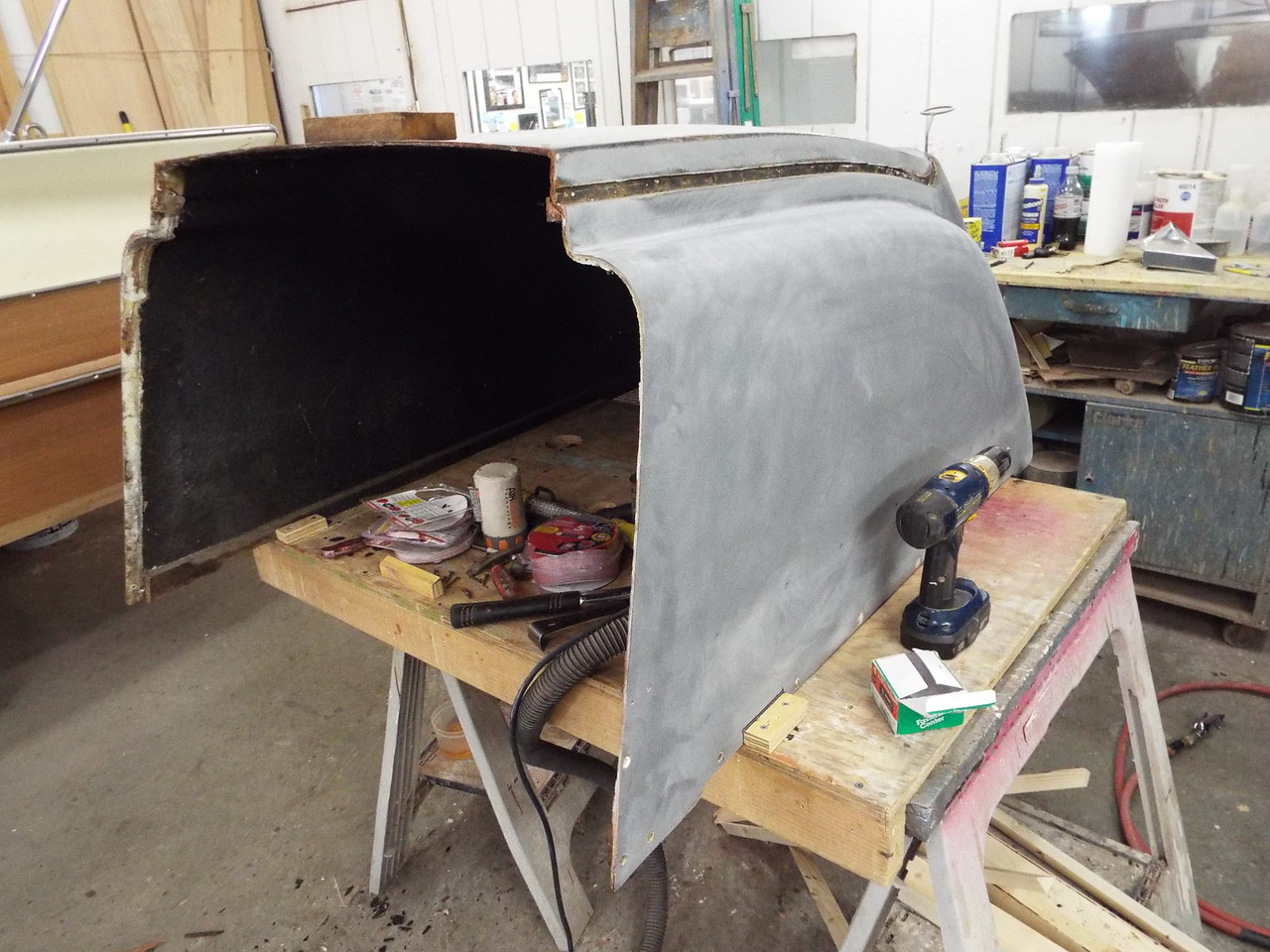 Another view of the engine box with the old front framing removed.