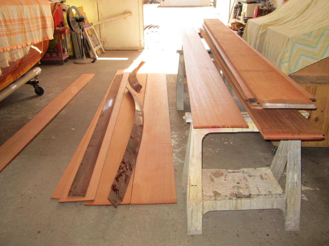 Sorting the new wood by color and size.