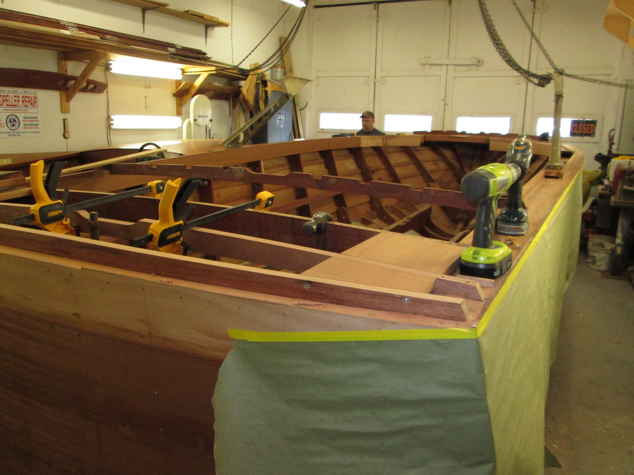 Rear deck blocking for rear clam shells being fit.