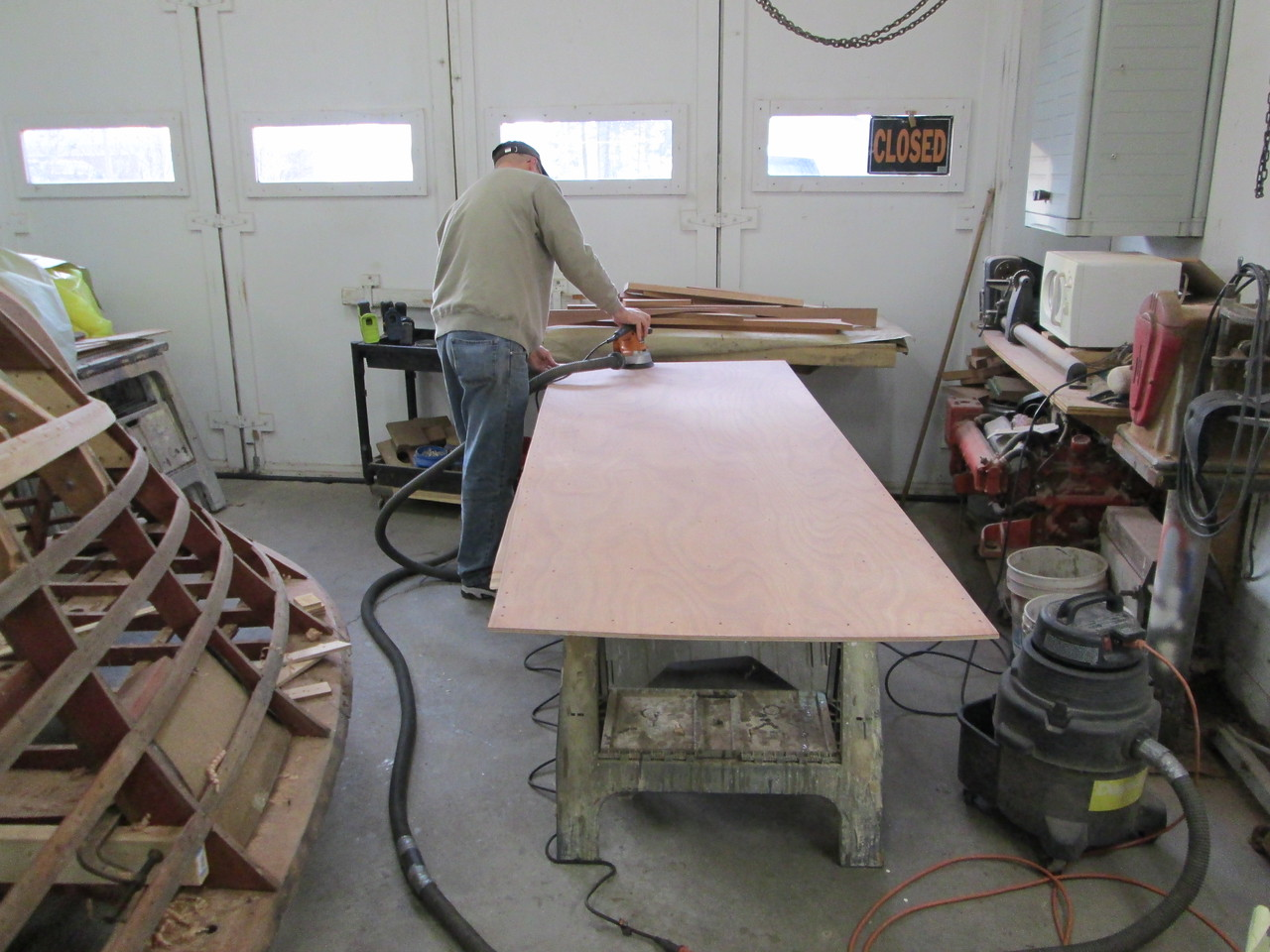 Sanding the epoxy on the inside surface.