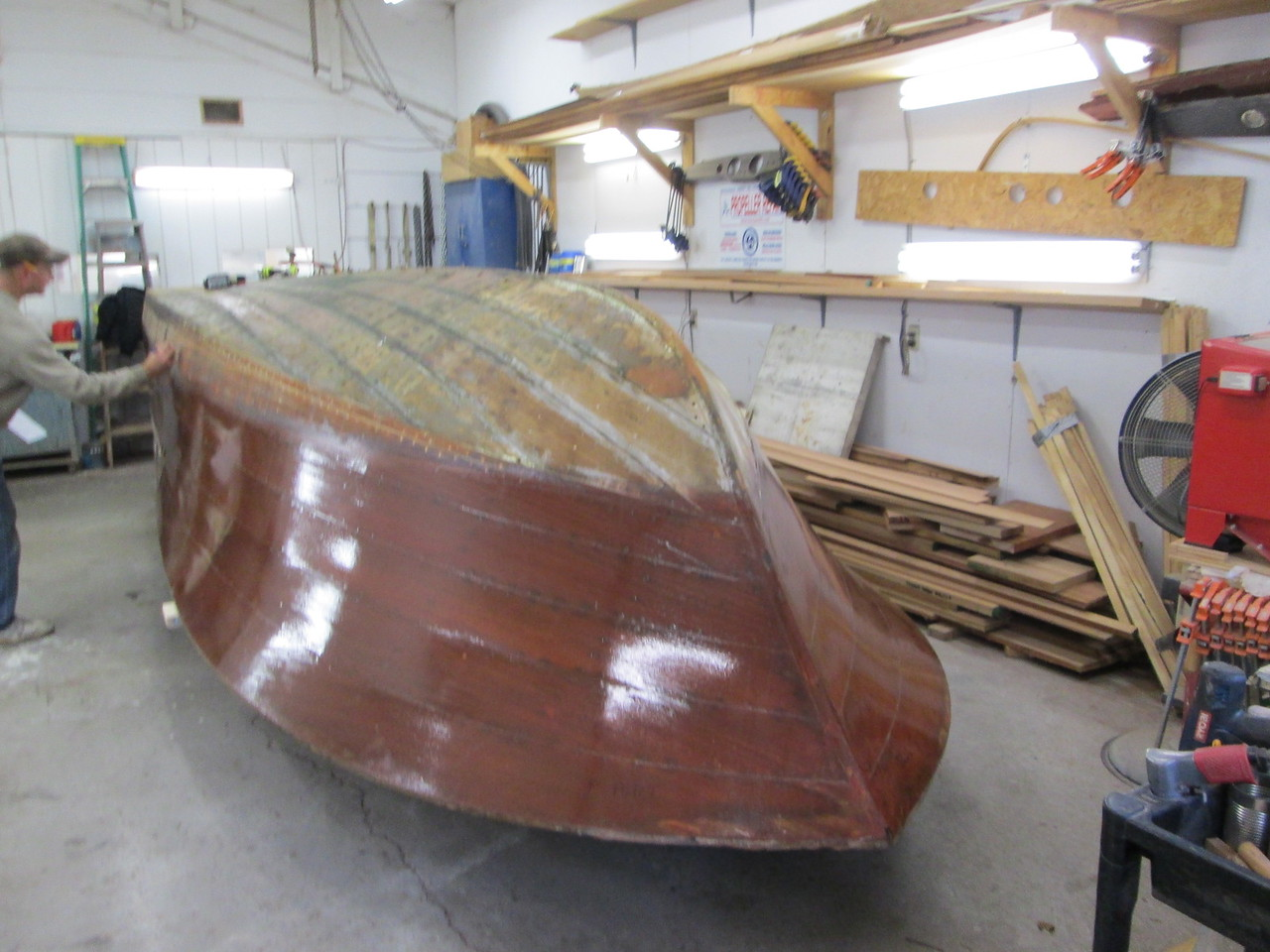Front port view with the hull turned over.