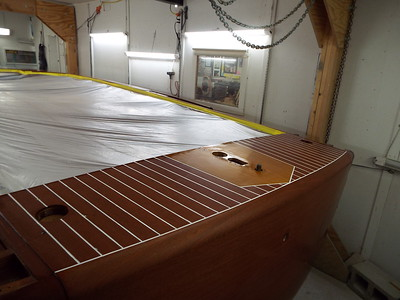 Rear port view of the painted deck seams.