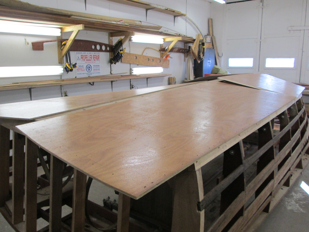 Bottom skin with epoxy applied to the inside surface.