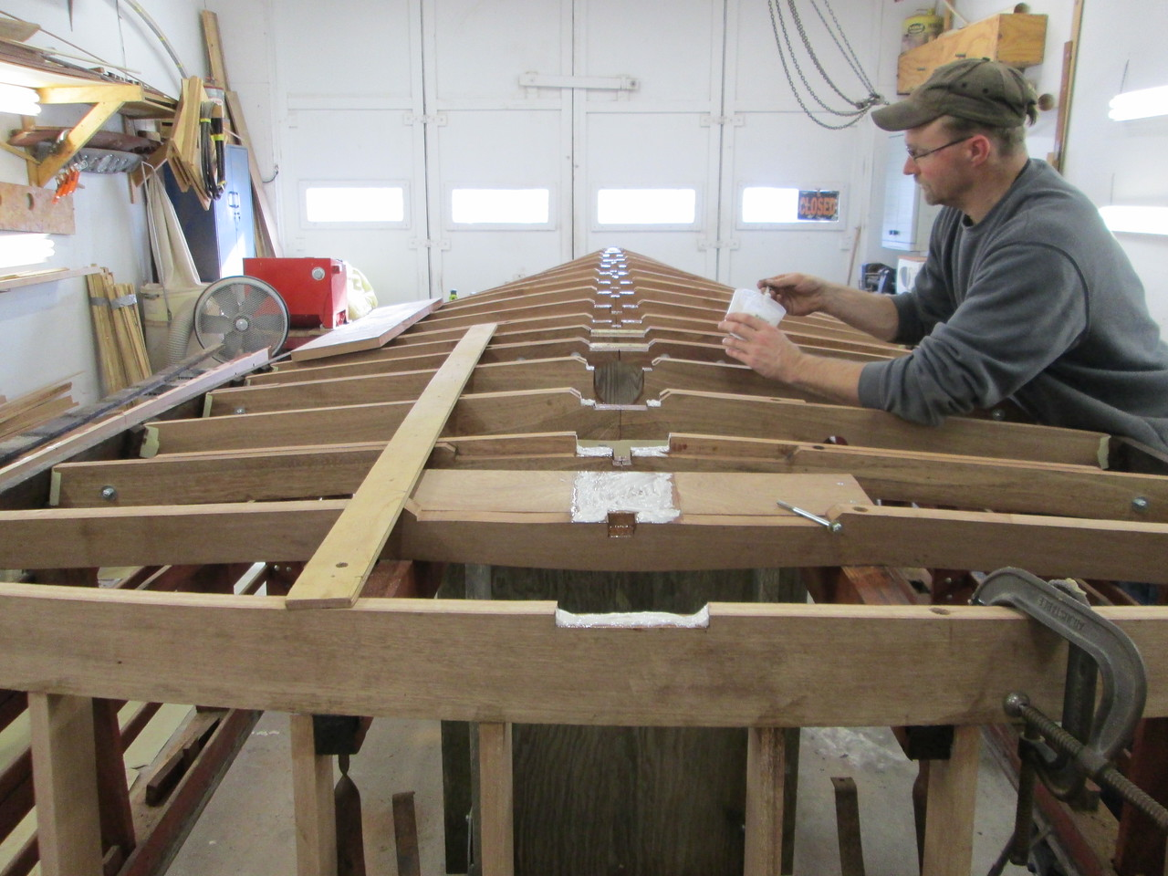 Epoxying the new keel in place.