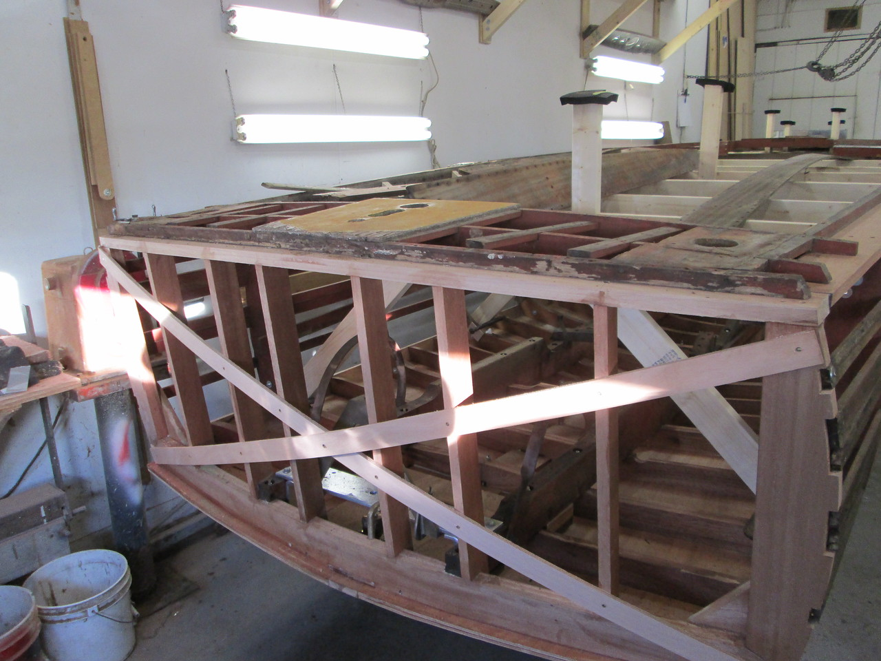 New transom shear plate installed. The hull is ready to be turned up side down.