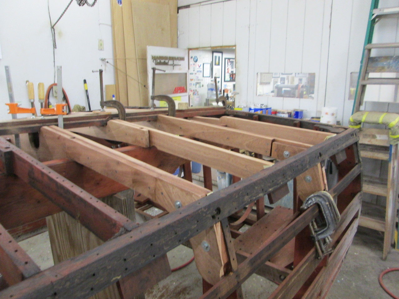 Starboard view of the first four frames installed.