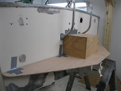 Rear port view of a plwood mock up for a new boarding platform.