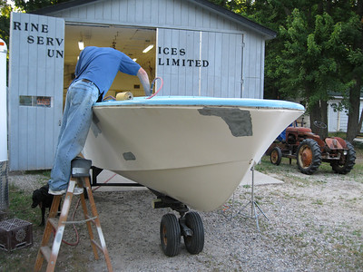 Repairs made to starboard bow.