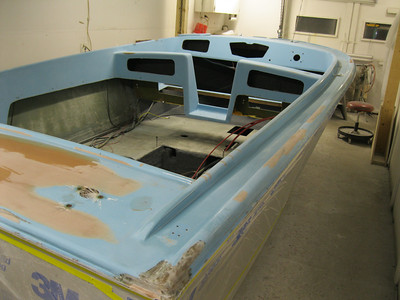 Another view of rear deck and starboard deck being worked on.