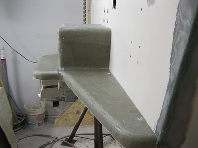 Starboard side view of boarding ladder mounted to the transom.