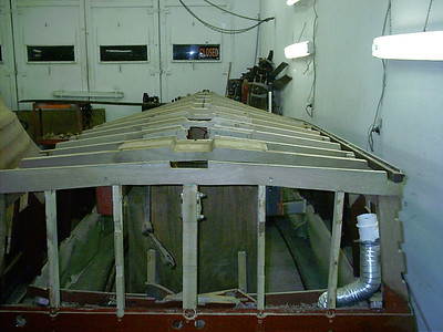 Rear view of all new frames ready for a new keel.
