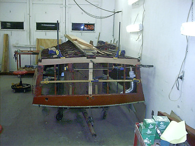 New transom bottom frame and center transom frame.