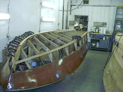 View of complete new starboard chine.
