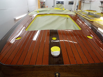 View of the rear deck with varnish applied.
