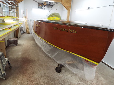 Starboard side with two coats of varnish.